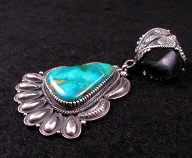 Image 2 of Navajo Kirk Smith Pilot Mountain Turquoise Pendant