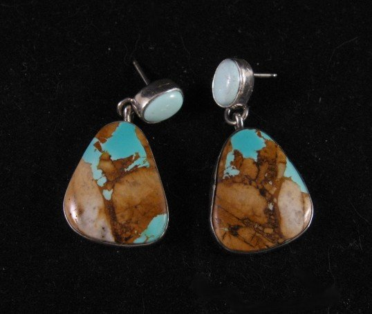 Navajo Indian 2-pc Dry Creek turquoise & Boulder Turquoise Earrings