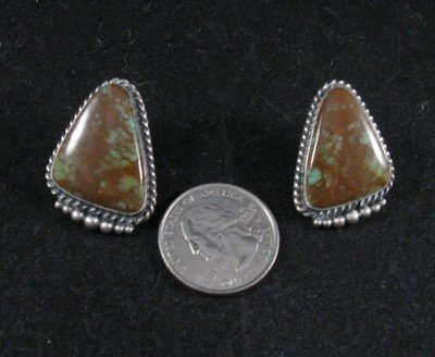 Image 1 of Kirk Smith Navajo Nevada Turquoise Silver Earrings