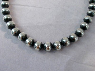 Native American 10mm Bead Navajo Pearls Sterling Silver Necklace 18-inch long