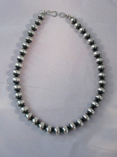 Image 1 of Native American 10mm Bead Navajo Pearls Sterling Silver Necklace 18-inch long