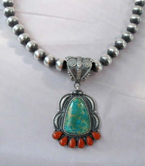 Image 2 of Native American 10mm Bead Navajo Pearls Sterling Silver Necklace 18-inch long