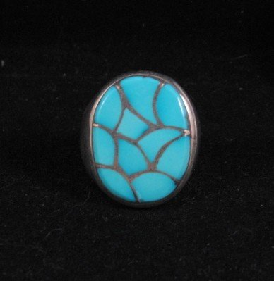 Image 1 of Zuni Turquoise Fish Scale Inlay Sterling Silver Ring sz11-1/2