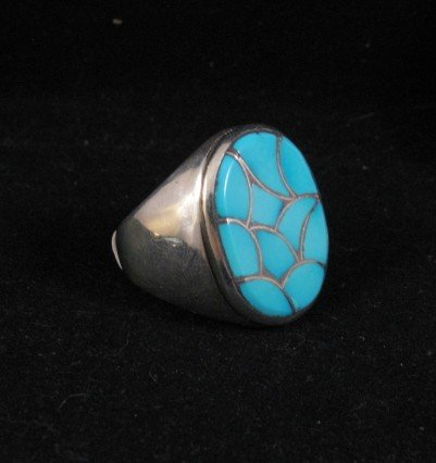 Zuni Turquoise Fish Scale Inlay Sterling Silver Ring sz11-1/2