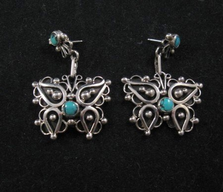 Native American Lorena Nez Silver Butterfly Dangle Earrings