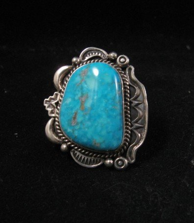 Image 0 of Native American Turquoise Sterling Silver Ring sz9, R Tom