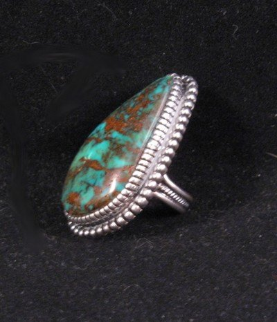 Image 2 of Gloria Begay Navajo Turquoise Sterling Silver Ring sz7