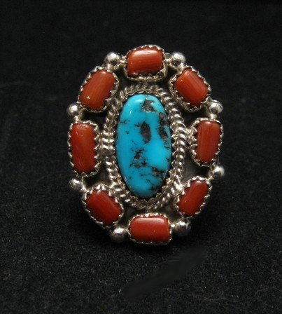 Image 0 of Navajo Turquoise Coral Cluster Silver Ring sz9-1/2