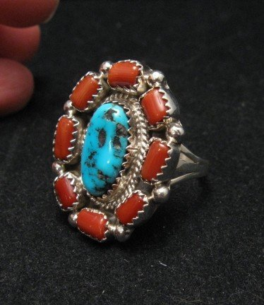 Image 1 of Navajo Turquoise Coral Cluster Silver Ring sz9-1/2