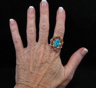 Image 2 of Navajo Turquoise Coral Cluster Silver Ring sz9-1/2
