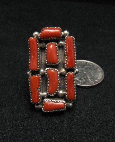 Navajo Branch Coral Sterling Silver Ring Sz10
