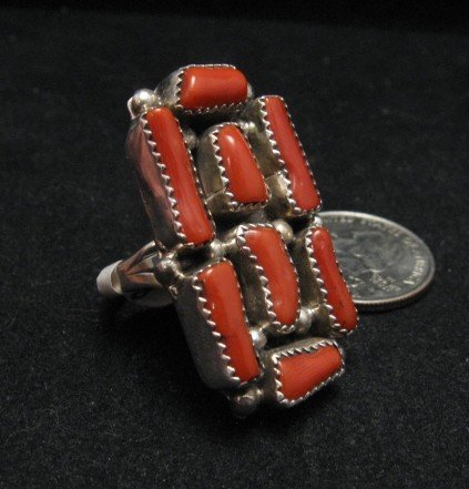 Image 1 of Huge Navajo Native American Coral Sterling Silver Ring Sz10
