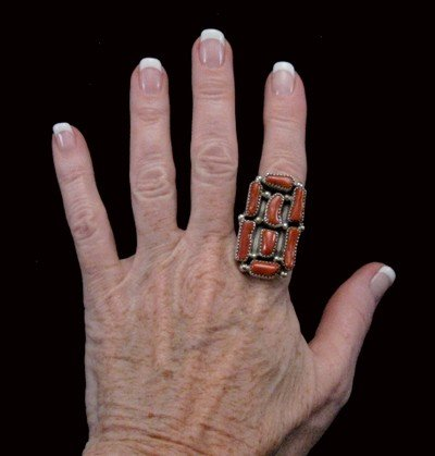 Image 2 of Huge Navajo Native American Coral Sterling Silver Ring Sz10