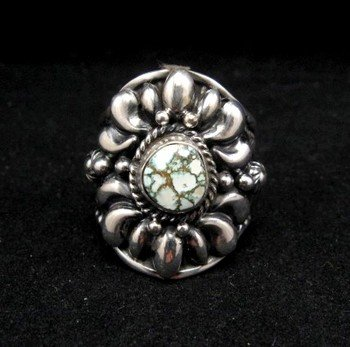 Image 0 of Native American Darryl Becenti Number 8 Turquoise Silver Ring sz10-1/2