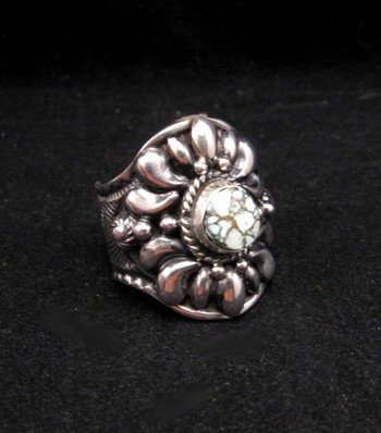 Image 1 of Native American Darryl Becenti Number 8 Turquoise Silver Ring sz10-1/2