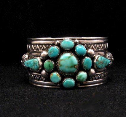 Image 0 of Royston Turquoise Cluster Silver Bracelet ~ Albert Jake ~ Navajo