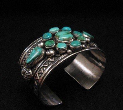 Image 1 of Royston Turquoise Cluster Silver Bracelet ~ Albert Jake ~ Navajo