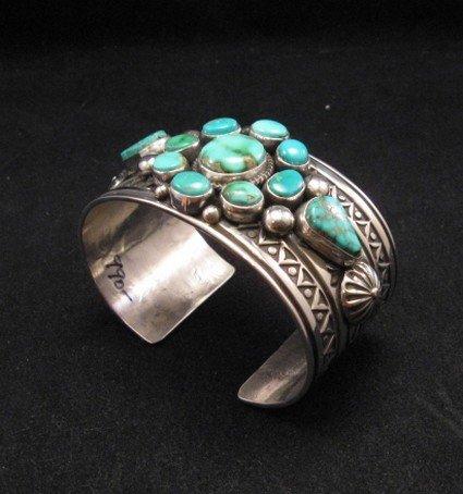 Image 2 of Royston Turquoise Cluster Silver Bracelet ~ Albert Jake ~ Navajo