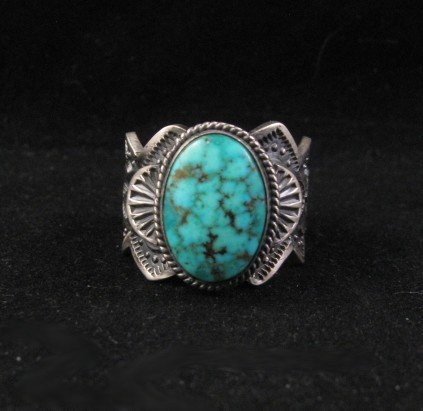 Image 0 of Navajo ~ Robert Shakey ~ Pawn Style Turquoise Silver Ring Sz11-1/4