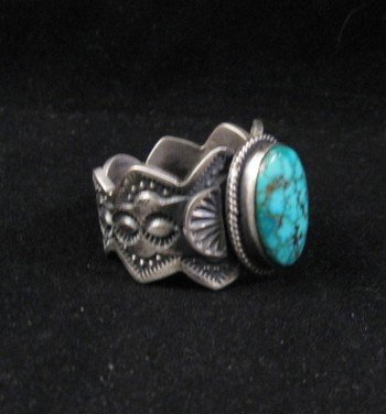 Image 1 of Navajo ~ Robert Shakey ~ Pawn Style Turquoise Silver Ring Sz11-1/4