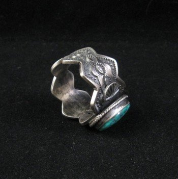 Image 2 of Navajo ~ Robert Shakey ~ Pawn Style Turquoise Silver Ring Sz11-1/4