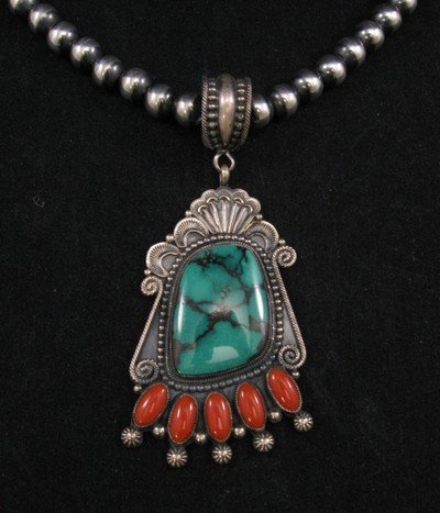Big Navajo Pawn Style Turquoise & Coral Pendant - Rick Martinez