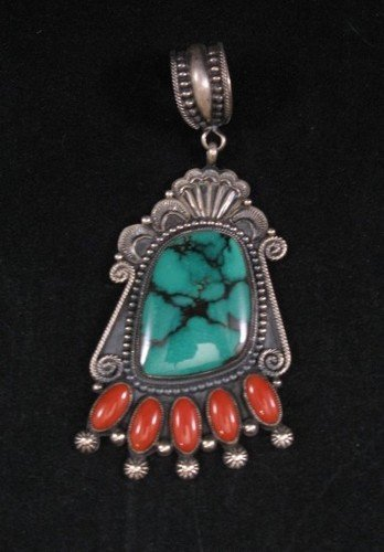 Image 1 of Big Navajo Pawn Style Turquoise & Coral Pendant - Rick Martinez