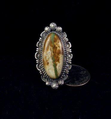 Image 0 of Navajo Native American Ribbon Turquoise Silver Ring Sz8-1/4, Robert Shakey