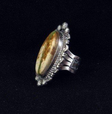 Image 1 of Navajo Native American Ribbon Turquoise Silver Ring Sz8-1/4, Robert Shakey