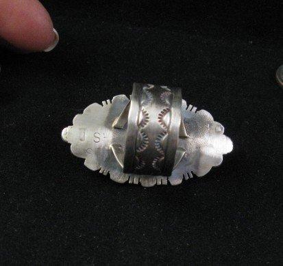 Image 2 of Navajo Native American Ribbon Turquoise Silver Ring Sz8-1/4, Robert Shakey