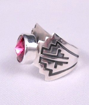 Image 2 of Fuschia Swarovski Crystal Navajo Silver Ring, Mary Teller, sz11-1/2