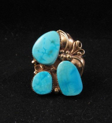 Image 0 of Old Navajo 14K Gold Turquoise Ring Sz11, Martin Muskett