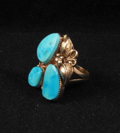 Image 1 of Old Navajo 14K Gold Turquoise Ring Sz11, Martin Muskett