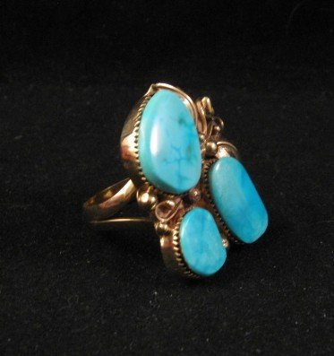 Image 2 of Old Navajo 14K Gold Turquoise Ring Sz11, Martin Muskett