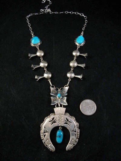 Butterfly Turquoise Silver Squash Blossom Necklace, Nelson Morgan