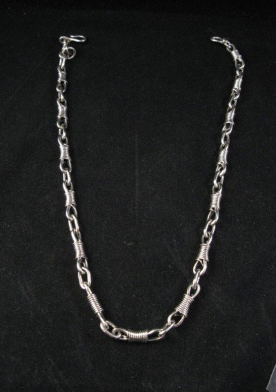 Navajo Indian Handmade 20'' Sterling Silver Necklace, Orville Tsinnie
