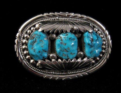 Image 0 of Robert & Bernice Leekya Zuni Turquoise Silver Buckle