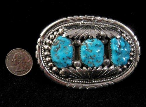 Image 1 of Robert & Bernice Leekya Zuni Turquoise Silver Buckle
