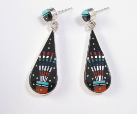 Ervin Tsosie Navajo American Indian Micro Inlaid Silver Earrings