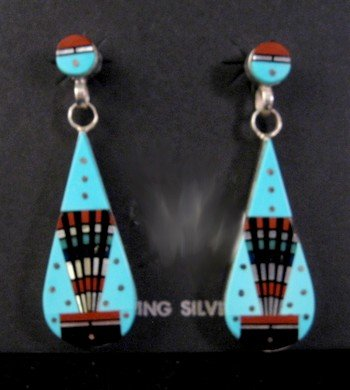 Image 0 of Ervin Tsosie Navajo Multi Stone Inlay Turquoise Silver Earrings