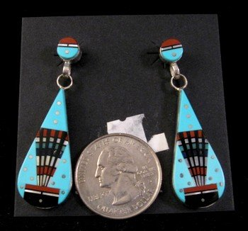 Image 1 of Ervin Tsosie Navajo Multi Stone Inlay Turquoise Silver Earrings