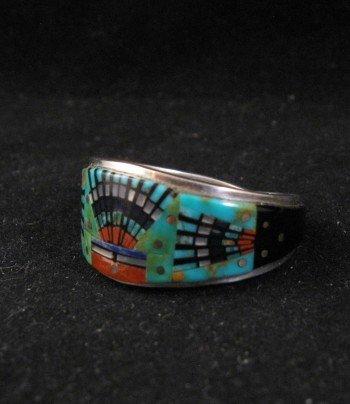 Navajo Ervin Tsosie Multi-stone Inlay Sterling Silver Ring sz11