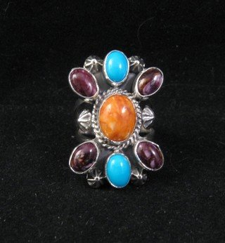 Native American Multigem Cluster Silver Ring sz6-1/2