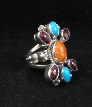 Image 1 of Native American Multigem Cluster Silver Ring sz6-1/2