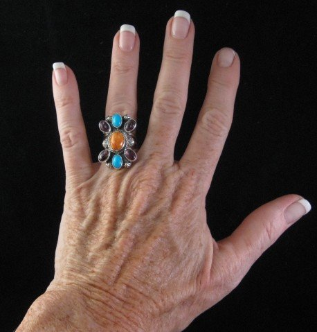 Image 2 of Native American Multigem Cluster Silver Ring sz6-1/2