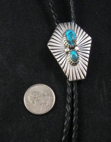 Navajo Pawn Sterling Silver Turquoise Bolo, Steve Yellowhorse