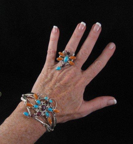 Image 2 of Native American Dragonfly Multigem Silver Bracelet