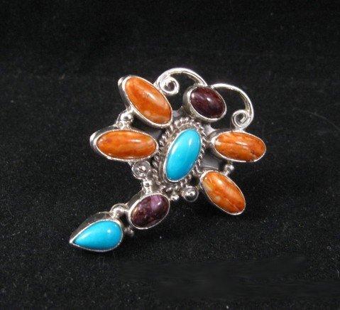 Native American Dragonfly Multigem Silver Ring sz7