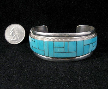 Rick Booqua Zuni Jewelry Turquoise Inlay Sterling Silver Bracelet