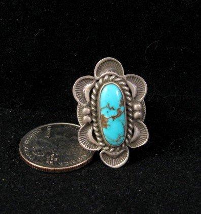 Navajo Alex Sanchez Turquoise Silver Ring sz7-3/4